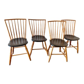 1940s Studio Bamboo & Oak Chairs - Set of 4 For Sale
