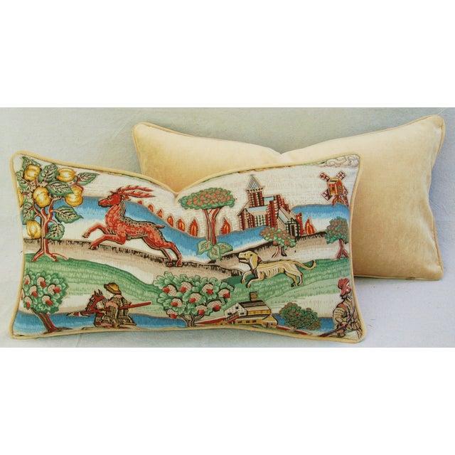 Designer Brunschwig & Fils Medieval Pillows - Pair - Image 5 of 8