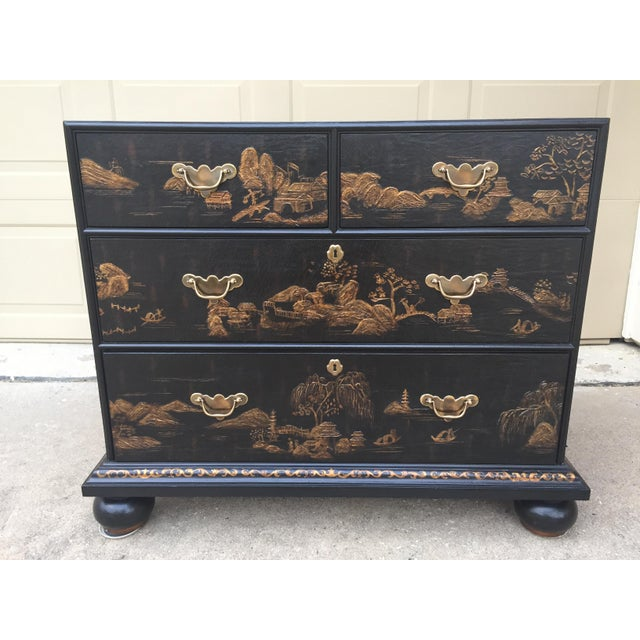 Vintage Baker Chinoiserie Gold and Black Lacquer Chest of Drawers For Sale - Image 12 of 12