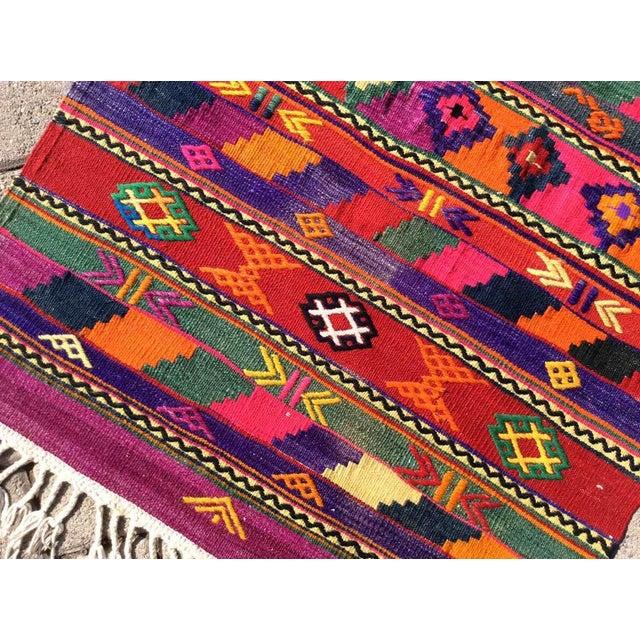 Hot Pink Turkish Kilim Rug For Sale - Image 4 of 9