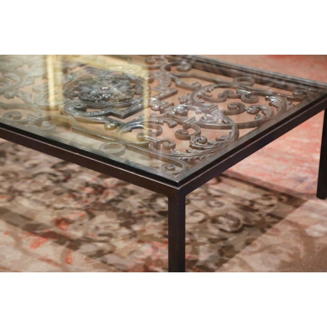 18th Century French Forged Iron Balcony Gate Coffee Table With Glass Top For Sale In Dallas - Image 6 of 7