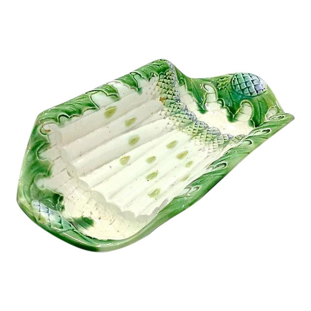 Antique Majolica Asparagus Serving Platter For Sale