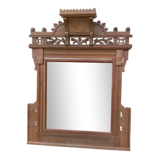 Antique Hand Carved Fruit & Foliage Teak Wood Mirror For Sale