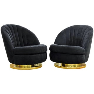 Mid-Century Modern Milo Baughman for Thayer Coggin Swivel and Tilt Blue Lounge Chairs - a Pair