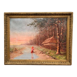 19th Century Hungarian Oil on Canvas Painting in Gilt Frame Signed Guniczky For Sale