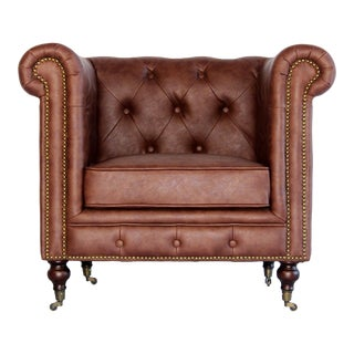 Pasargad DC Club Leather Chair For Sale