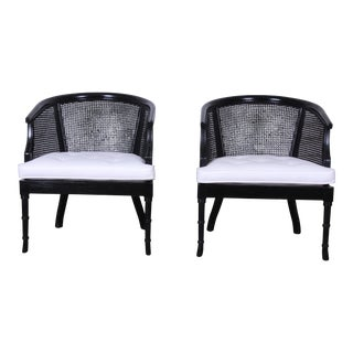 Hollywood Regency Ebonized Faux Bamboo and Cane Barrel Back Club Chairs, Pair For Sale