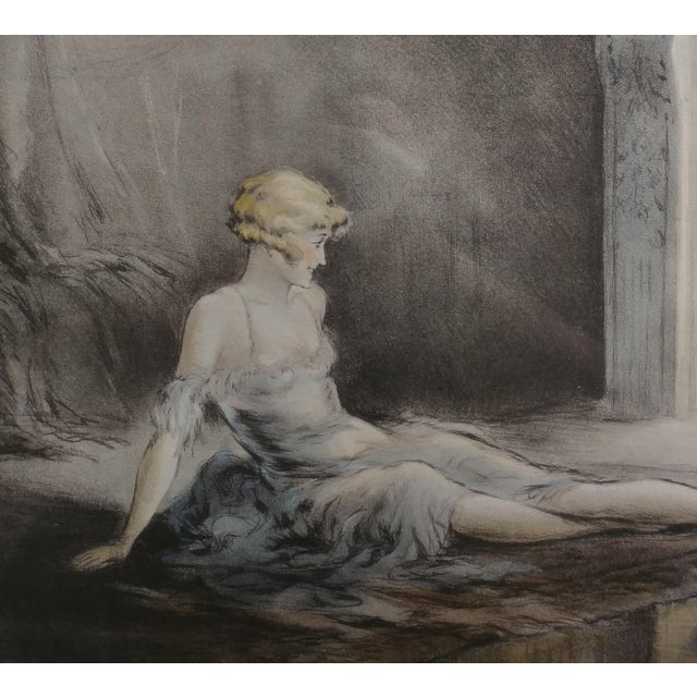 1920s E. Naudy 1920s Art Nouveau Woman W/Cat by Fireplace Lithograph For Sale - Image 5 of 10