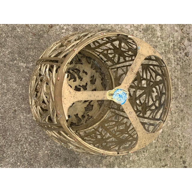 Metal Vintage Brass Faux Bamboo and Fretwork Design Garden Stool For Sale - Image 7 of 13