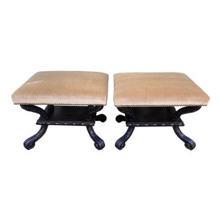 Pair of Carved Walnut Italian Benches W Mohair by William Switzer For Sale