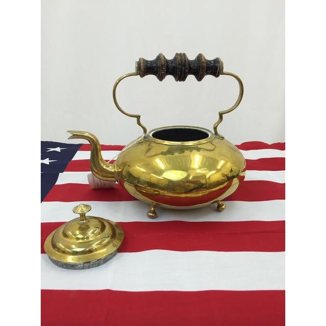 Vintage Brass Tea Kettle For Sale - Image 5 of 5