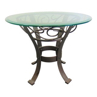 Modern Bronzed Finish Glass Top Side Table For Sale