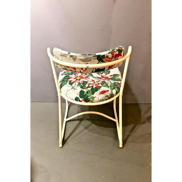 Pair 1940's Painted Steel and Bark Cloth Side Chairs For Sale In Los Angeles - Image 6 of 7