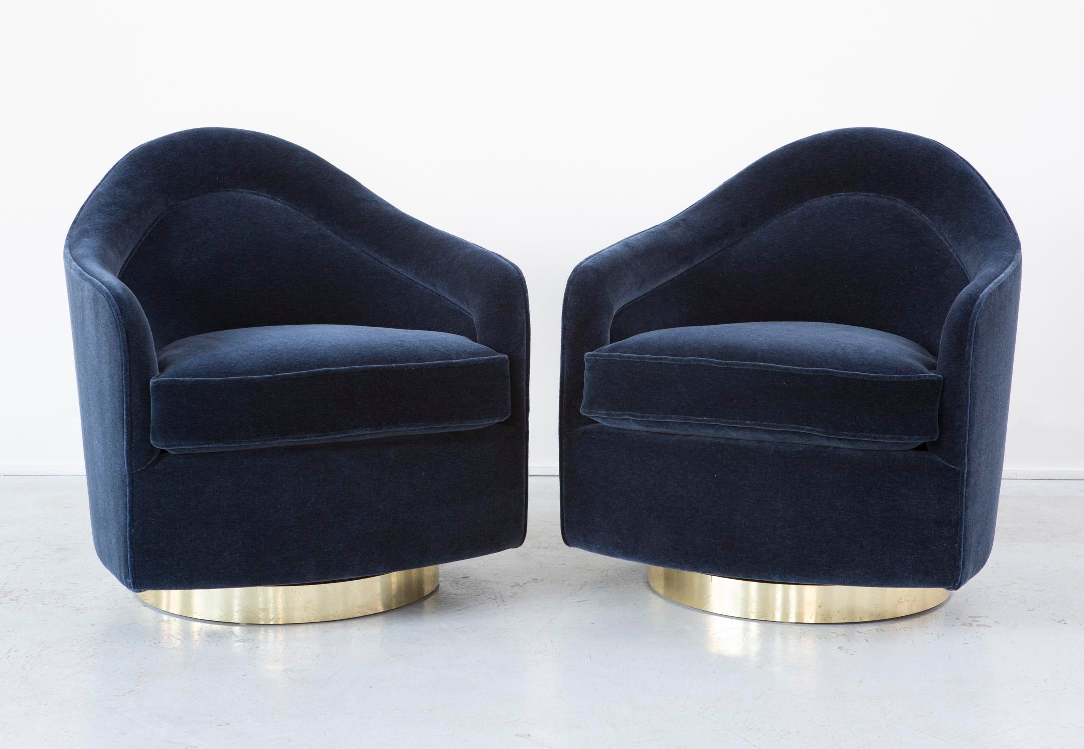 Milo Baughman Brass Base Swivel Chairs   Pair   Image 3 Of 12