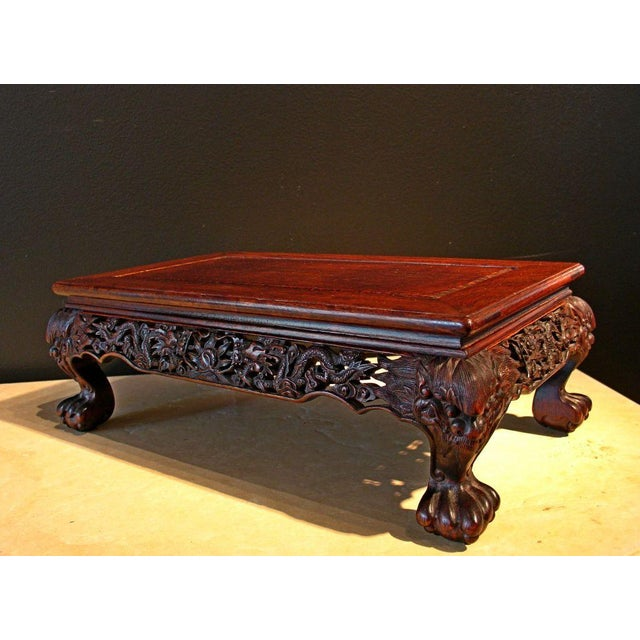 A Chinese Carved Longyan Wood Stand For Sale - Image 4 of 7