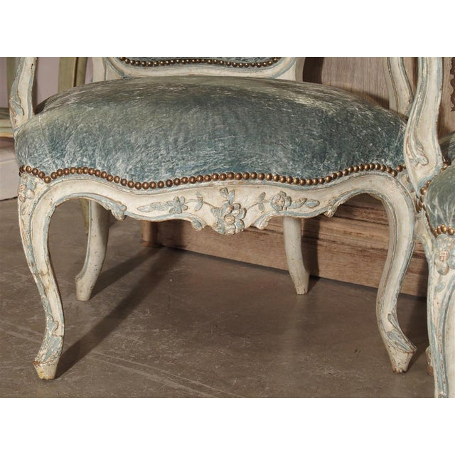 Pair of Period French Louis XV Blue and Cream Lacquered Cabriolet Armchairs For Sale - Image 12 of 13