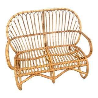 Franco Albini Inspired Rattan/Bamboo Settee