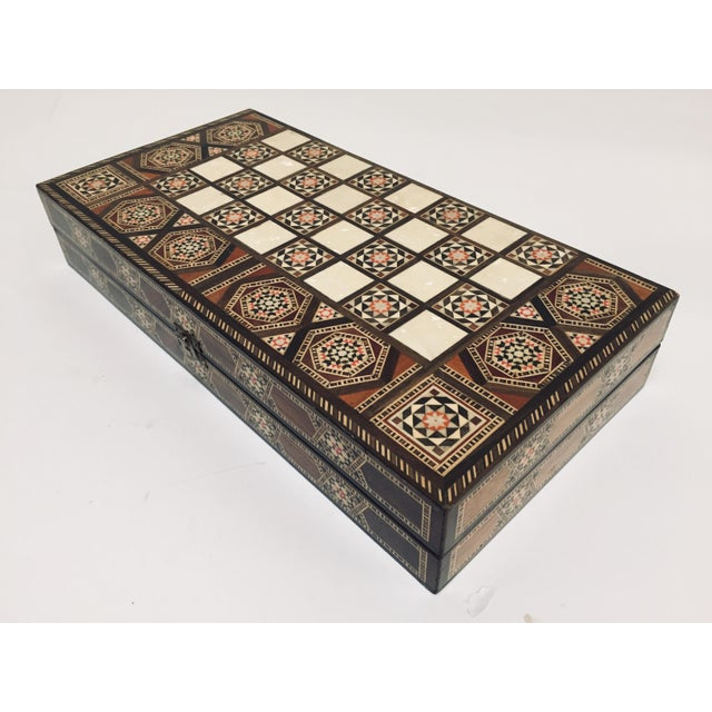 Vintage Mid-Century Syrian Inlaid Mosaic Backgammon and Chess Game For Sale - Image 10 of 12