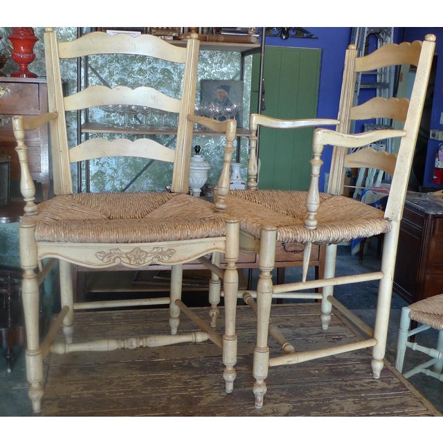 Cabin Four 19th Century French Painted Pine Provençal Arm-Chairs. For Sale - Image 3 of 12