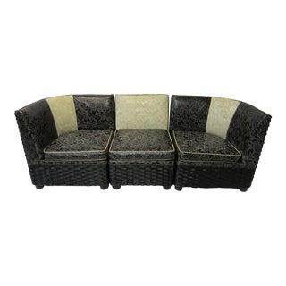 1940s Streamline Art Deco Wicker Sofa For Sale