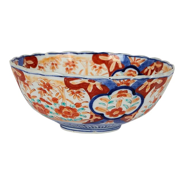 Early 20th Century Japanese Imari Scalloped Bowl For Sale