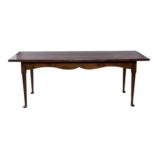 Dark Stained Pine Farm Table For Sale