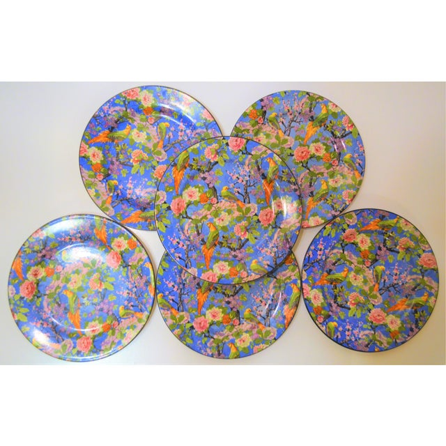 Ceramic 1920's Antique Crown Ducal Blue Chintz Plates - Set of 6 For Sale - Image 7 of 11