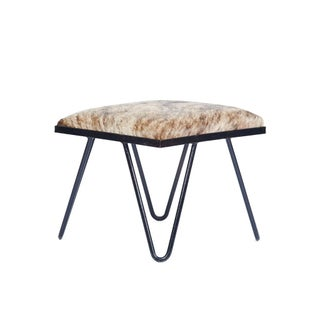 Cowhide Iron Hairpin Footstool Preview