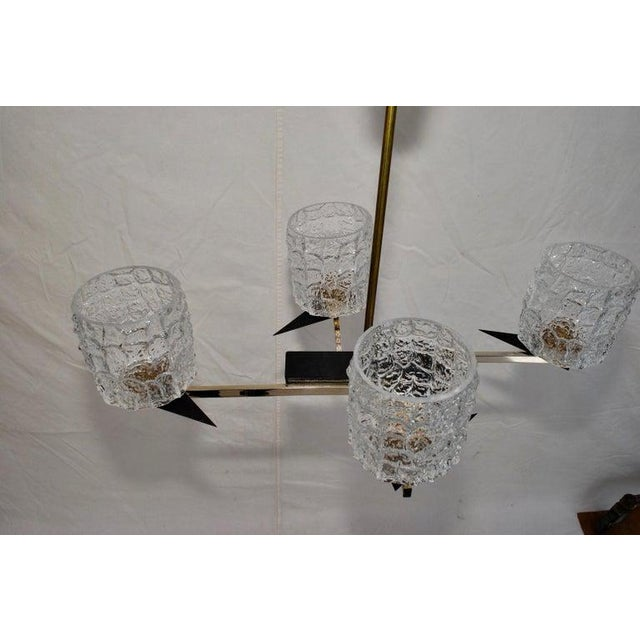 Maison Arlus Midcentury French Chandelier with Glass Shades Design by Maison Arlus For Sale - Image 4 of 7