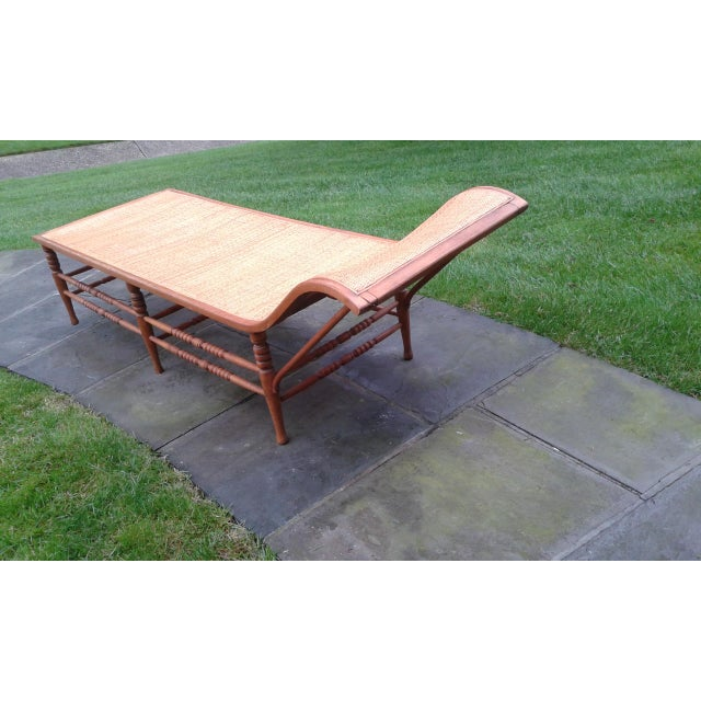 Early 20th Century Vintage Caribbean Wood-Frame Woven Chaise Lounge For Sale - Image 5 of 13