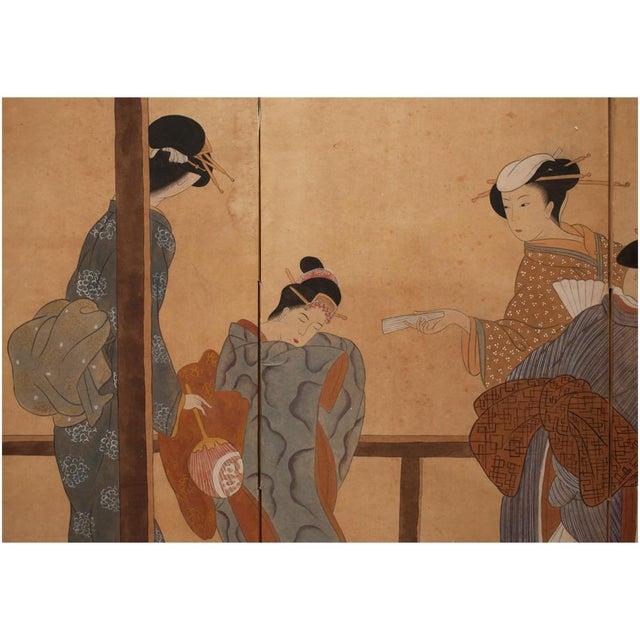 Late Meiji Era Ukiyo-E Style Large Japanese Screen For Sale - Image 4 of 11