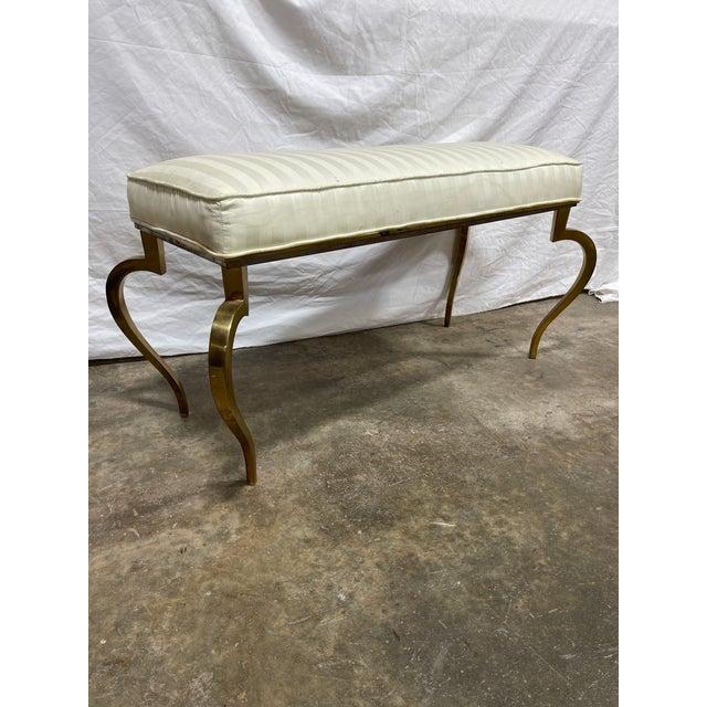 Italian Italian Brass Upholstered Bench For Sale - Image 3 of 13