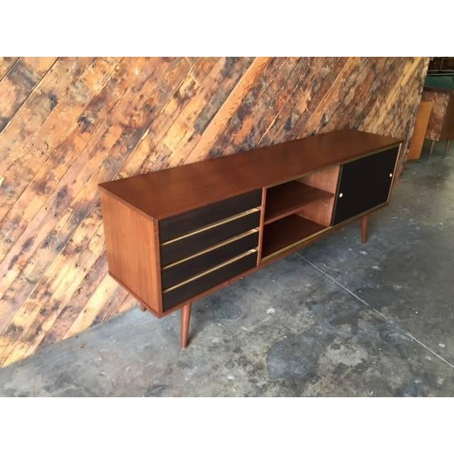 Mid-Century Style Custom Walnut & Brass Credenza For Sale - Image 4 of 7