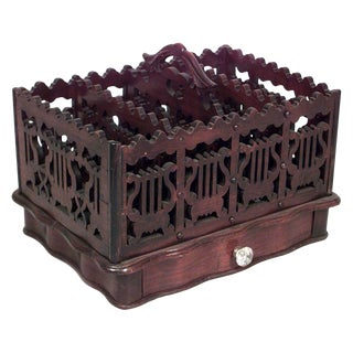 Victorian Mahogany Lyre Design Magazine Rack For Sale