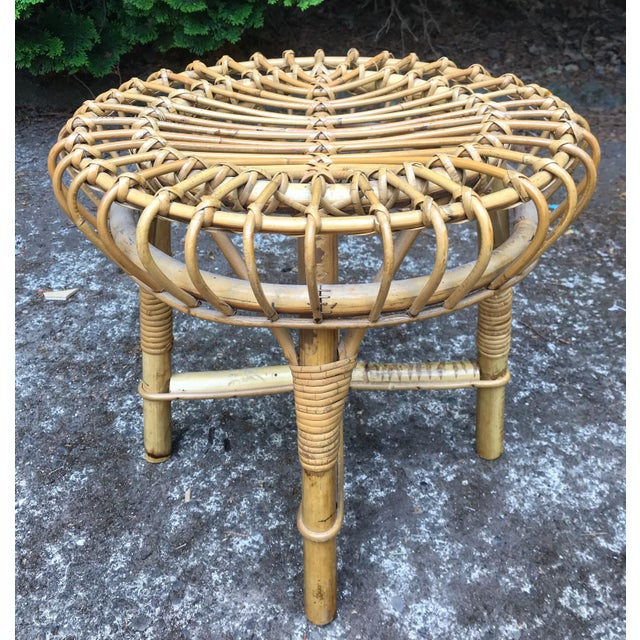 Mid Century Rattan Ottoman Foot Stool Style of Franco Albini For Sale In Portland, OR - Image 6 of 6