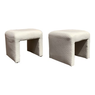 Pair of Post Modern Waterfall Ottomans by Directional For Sale