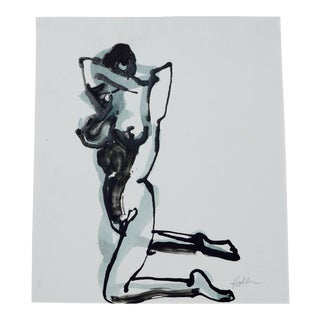 """""""Pose"""" Contemporary Figurative Nude Ink Drawing For Sale"""