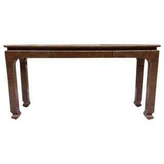 Raffia Covered Console by Harrison Van Horn For Sale