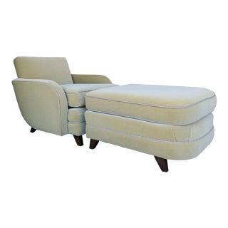 Vintage Italian Art Deco Chair and Ottoman For Sale