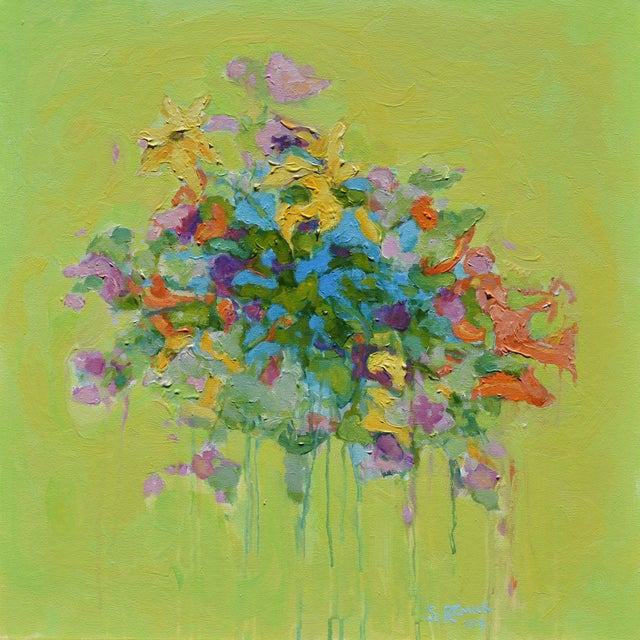 Stephen Remick Abstract Bouquet on Green Background Painting For Sale - Image 11 of 11