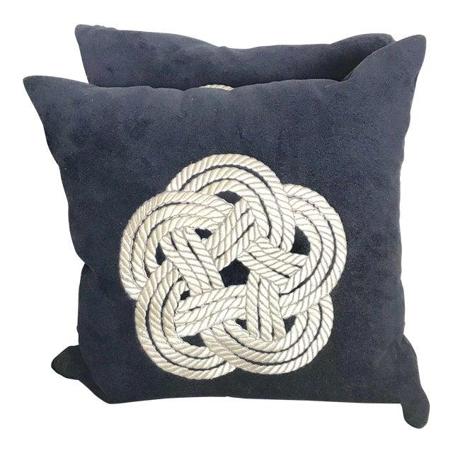 Navy Knot Design Velvet Pillows - A Pair For Sale