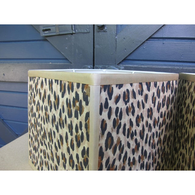 Hollywood Regency Custom Made Square Leopard Lampshades - A Pair For Sale - Image 3 of 4