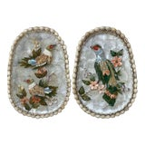 Image of Vintage Palm Beach Chic Sea Shell Bird & Flower Art Framed in Herringbone Basket – a Pair For Sale