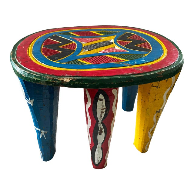 """African Old Nupe Stool Nigeria 12"""" H For Sale"""