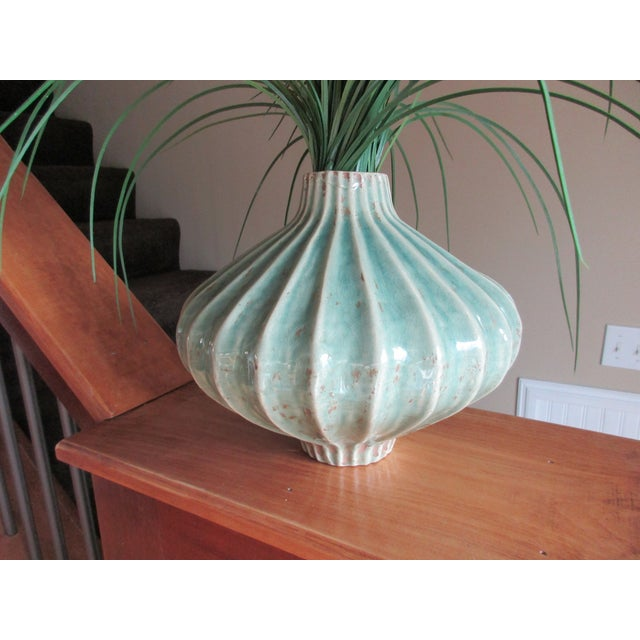 Global Views Teal Cinched and Fluted Vase For Sale - Image 6 of 11