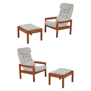 Domino Mobler Solid Teak Danish Modern Lounge Chairs and Ottomans New Upholstery For Sale
