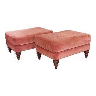 Darling Pair of Pink Velvet Ottomans For Sale