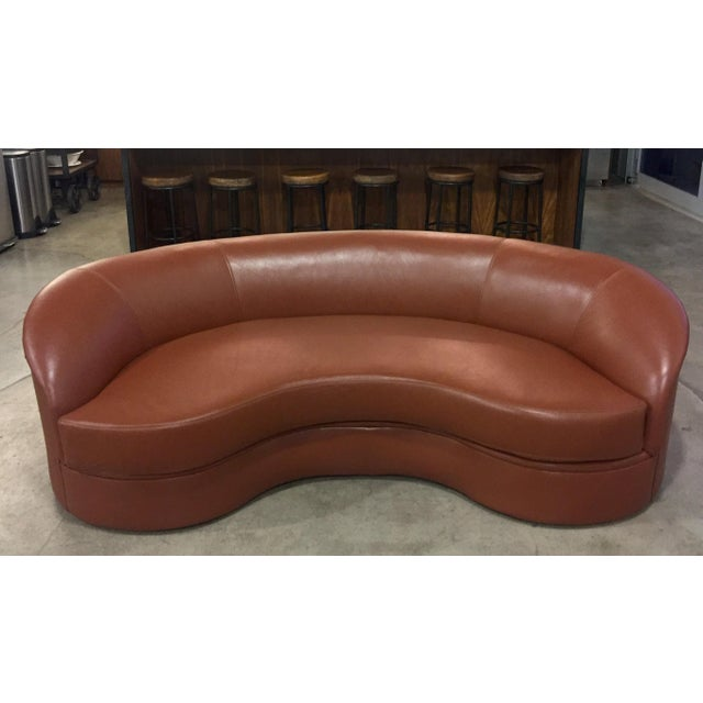 Brown Vladimir Kagan Biomorphic Kidney Bean Shaped Sofa For Sale - Image 8 of 9