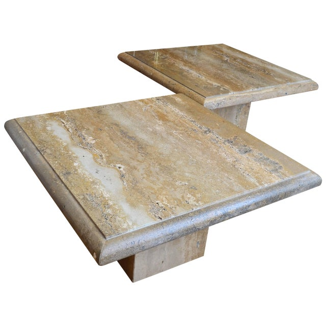 Travertine Large Square Coffee Tables A Pair Chairish