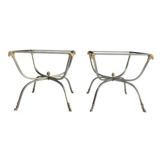Italian Steel & Brass Jansen Style Tables, a Pair For Sale